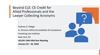 Image of Beyond CLE: CE Credit for Allied Professionals and the Lawyer Collecti