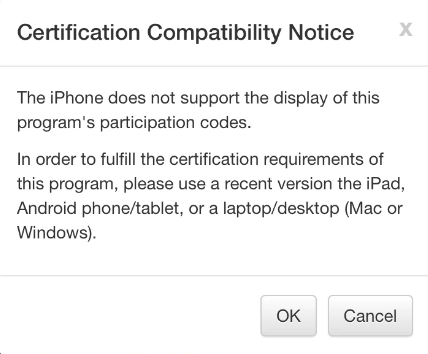 iPhone Compatibility Warning