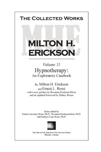Image ofThe Collected Works of Milton H. Erickson: Volume 11: Hypnotherapy: An